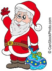 Cute Santa Claus with gifts - isolated illustration.