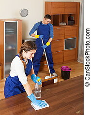 Professional cleaners cleaning in room