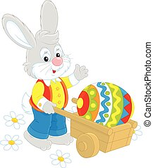 Easter Bunny - Rabbit going with a wheelbarrow and a...