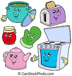 Kitchen cartoons on white background - isolated illustration...
