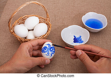 painting easter eggs - Painting eggs for Easter Gzhel