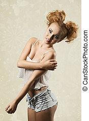 Crazy woman - Gorgeous, crazy, pretty, redhead woman with...