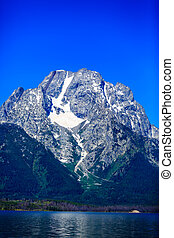 Mount Moran with snow patch, in Grand Teton National Park.