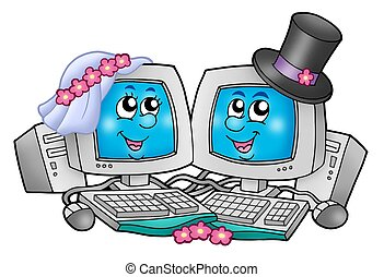 Cute wedding computers - color illustration