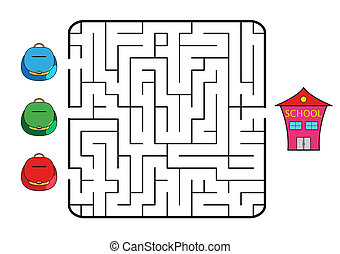 Maze game for children. Find the way for school bag to...