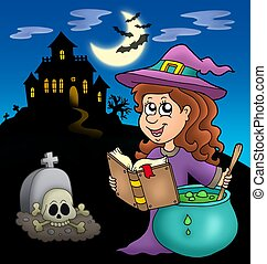 Cute witch with potion and mansion - color illustration.