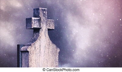 Cross on the cemetery during snowfall, Time lapse clouds...