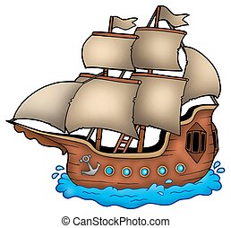 Old ship on white background - color illustration.