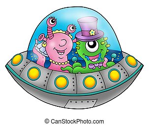 UFO wedding couple - color illustration