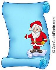 Blue parchment with Santa Claus 1 - color illustration.