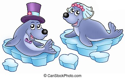 Wedding with cute seals - color illustration