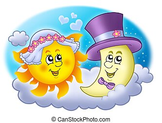 Wedding image with Sun and Moon - color illustration.