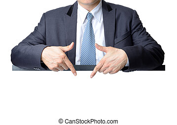 businessman pointing at blank white sign isolated on white...