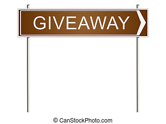 Giveaway. Traffic sign on a white background. Raster.