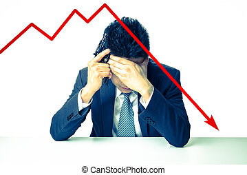 Depressed Businessman holding a gun behind bad Stock market...
