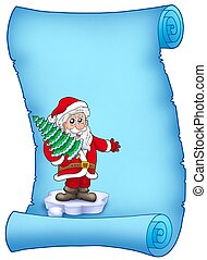 Blue parchment with Santa Claus 4 - color illustration.