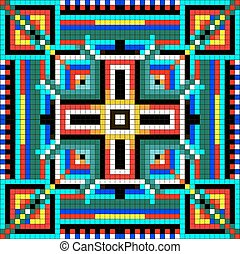seamless mosaic of geometric ornament with colored squares -...