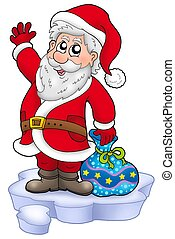 Cute Santa Claus with gifts on snow