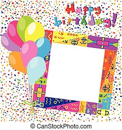Happy Birthday colorful card with confetti and balloons