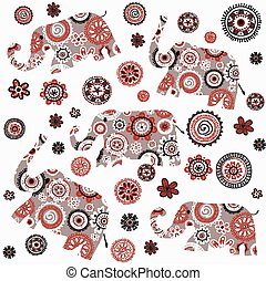 Indian style background with patterned elephants and flowers