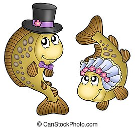 Wedding with cute carps - color illustration