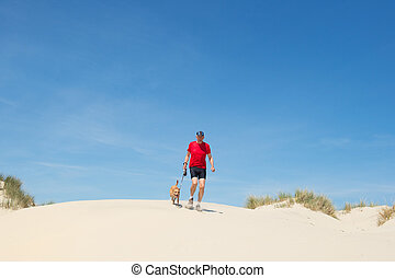 Running with dog in nature