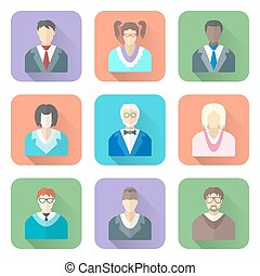 vector colored flat style various people in glasses icons...