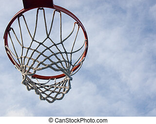 Aim High - Closeup of a basketball hoop shot from below...