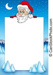 Frame with lurking Santa Claus 1 - color illustration.
