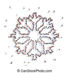 people in the form of Christmas snowflakes. - Large group of...