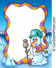 Winter frame with snowman and trees - color illustration.