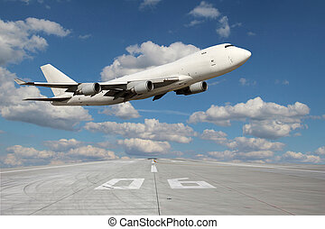 Large white plane without landing gear flies through over...