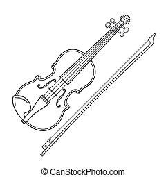 vecteur, gris, contour, vecteur, violon, violon, arc, sur,...