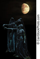 Angel and man - An angel and an old man in the moonlight