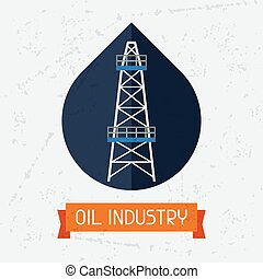 Oil derrick in oilfield background. Industrial illustration...