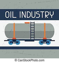 Railway tank with oil background. Industrial illustration in...