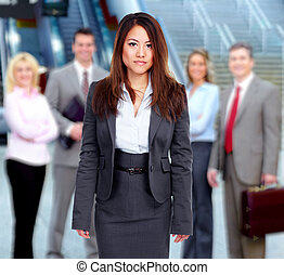 Business team. - Asian Businesswoman and Group of business...