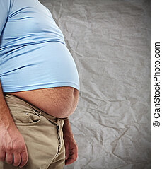 Obesity - Fat belly Man with overweight abdomen Weight loss...