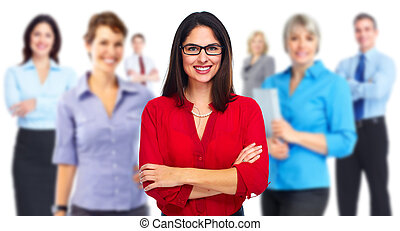 Business team. - Smiling businesswoman and group of Business...