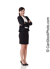 Asian business woman, full length portrait with reflection...