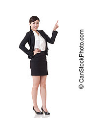 introduce - Attractive business woman introduce with hand,...