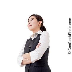 Confident Asian business woman, closeup portrait on white...