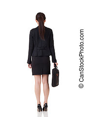 Asian business woman - Rear view of Asian business woman,...
