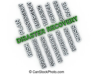 3d image Disaster recovery issues concept word cloud...