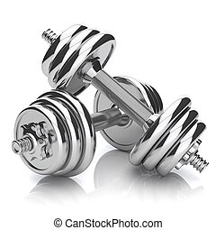 Kit of chromed sports dumbbells isolated on white background