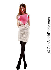 pretty young woman posing on white background, valentine day con