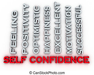3d image self confidence issues concept word cloud...