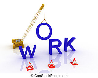 3d imagen of construction site, including cranes and lifting mac