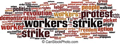Workers' strike word cloud concept. Vector illustration