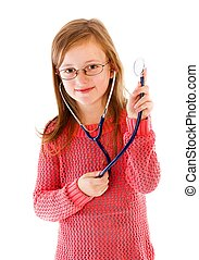 I Aim To Be a Big Doctor - Serious little child playing her...